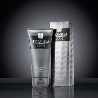 Titanium Man Face & Body Wash 200ml Tube & Carton on black 2
