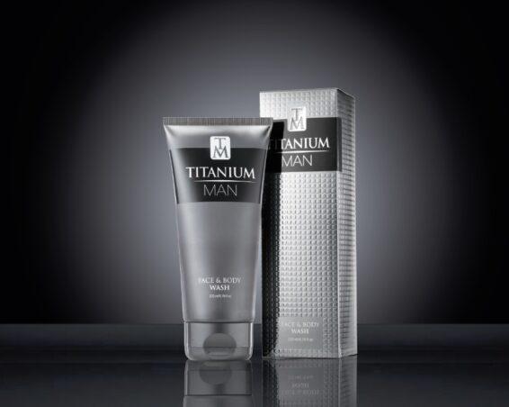 Titanium Man Face & Body Wash 200ml Tube & Carton on black 2