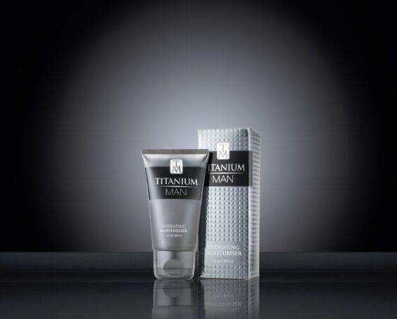 Titanium Man Moisturiser 50ml Tube & Carton on black