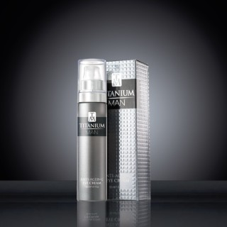 Titanium Man Eye Cream 30 ml Bottle & Carton on black