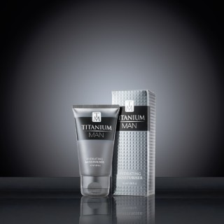 Titanium Man Moisturiser 50ml Tube & Carton on black