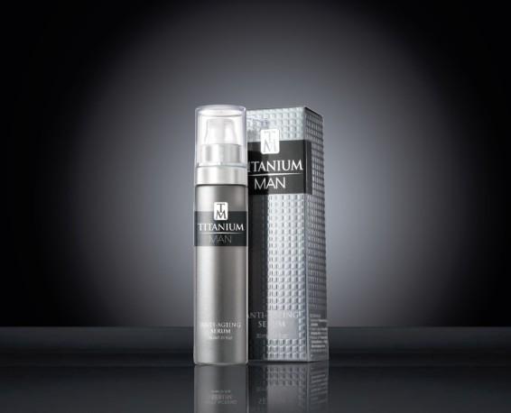 Titanium Man Serum 30 ml Bottle & Carton on black